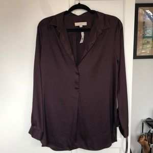 Dark purple ANN TAYLOR LOFT button down blouse